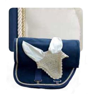 Mantilla acolchada champagne-azul con cordón a juego 1309