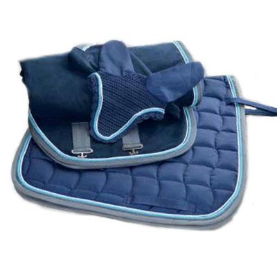 Conjunto mantilla, orejeras y manta azul-gris con cordón 1312