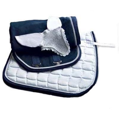 Mantilla acolchada blanca-azul con cordón a juego 1314