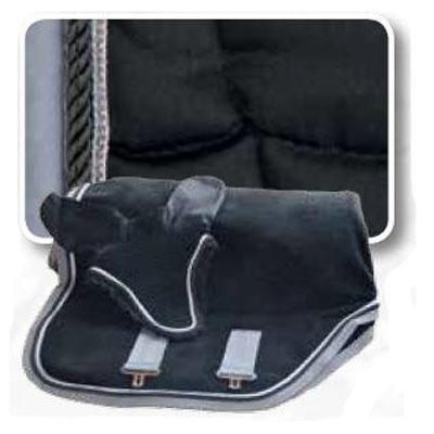Conjunto mantilla, orejeras y manta negro-gris con cordón 1305