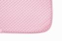 Mantilla acolchada rosa con cordón y ribete