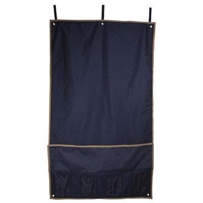 Cortina cubre boxes de nylon azul