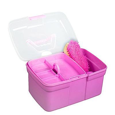 Caja de limpieza rosa c/ utensilios