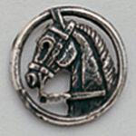 Pin en plata cabeza caballo
